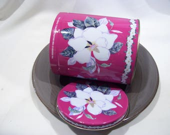 Magenta Magnolia Tin Maurice Lenell Cooky Co 1996,Cookie Tin,Southern Magnolia Flowers