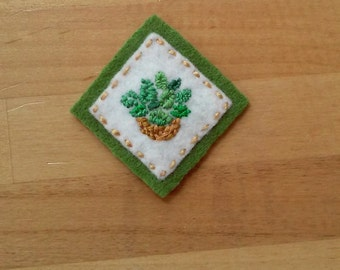 Houseplant: Basket o' Foliage (Patch, Pin, Brooch, or Magnet)