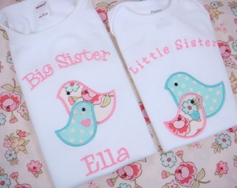 Big Sister Little Sister Shirts - Big Sister Shirt and Little Sister Set - Big Sister Birds Shirt - Little Sister Bird Bodysuit