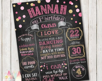 First Birthday Chalkboard Poster. First Birthday Poster. First Birthday Sign. Birthday Photo Prop. Customized Chalkboard Poster.