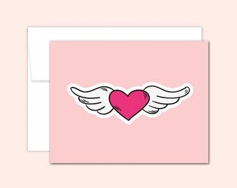 Heart Notecard Set (10 cards), Hostess Gift, Wedding Cards, Thank You Cards, Cute Note Card, Greeting Card, Blank Inside, Vintage Tattoo