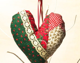 Crafty Christmas! Handmade Stuffed Heart ornament, Made with Vintage fabric, Happy Shabby Cottage Country Patchwork Chic
