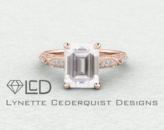 The Alexandra 2.25 carat Emerald Cut Forever One Moissanite Vintage Inspired Accented Engagement Ring