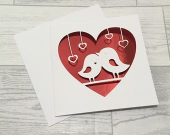 Valentines card, Valentines day, valentines day card, Card for Wife, Card for Husband, Love Card, Paper Cut Card, Homemade Card, Valentine