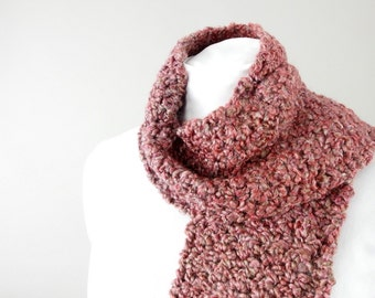 Red Fringed Scarf, Hand Crocheted Muted Red Ombre Unisex Scarf