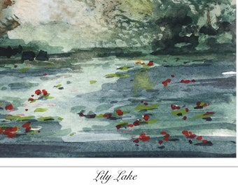 Landscape ORIGINAL Miniature Watercolour Lily Lake, ACEO English countryside Watercolor  For him For her Home decor Wall art Gift Idea