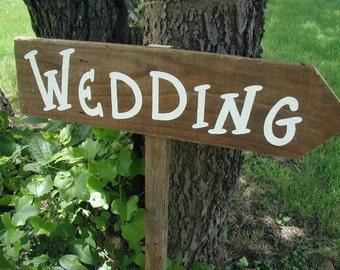 Rustic Wood Aged Cedar Wedding Sign on Stake Western Bridal Ceremony Reception