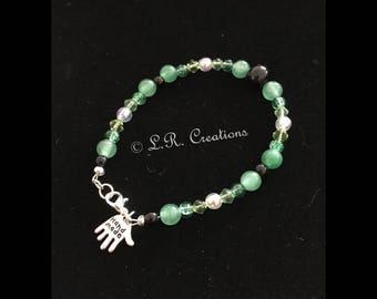 Jade & crystal bead bracelet with clasp