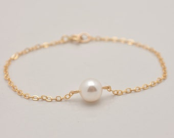 Gold Pearl Bracelet, Pearl Gold Bracelet, Floating Pearl Bracelet in Gold, One Pearl Gold Bracelet, Real Gold Filled, Bridesmaid Gift 0329
