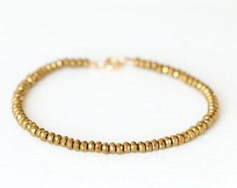 Gold Hematite Beaded Bracelet  Layering Bracelet Simple Gold Bracelet Boho Bracelet Gold Color Hematite Bracelet