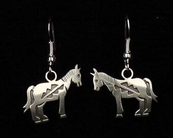 New! Navajo Jewelry Sterling Silver Horse Dangle Drop Earrings by Robert Gene Native American Art
