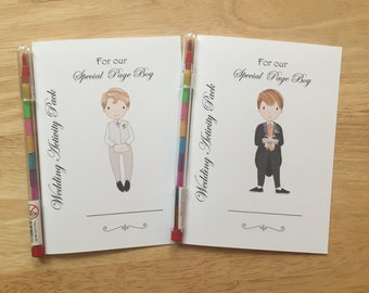 A6 Children's Kids Wedding Activity Pack, Colouring Book, Favour - Page Boy, Ring Bearer, Jr Groomsman