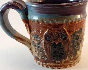 Owl mug, carved stoneware #303