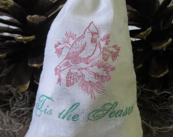 Christmas Favor Bags - SET OF 10 Tis the Season Muslin Christmas Holiday Cardinal Favor Bags Gift Bags or Candy Bags - Item 1624