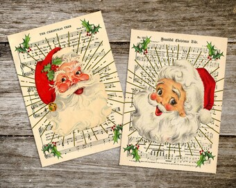 Retro Style Old Fashioned Atomic Christmas Santa Prints from Curious London