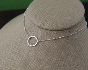 Hammered circle ring necklace in sterling silver, sterling silver ring, hammered ring, circle necklace, hammered jewelry, valentine day