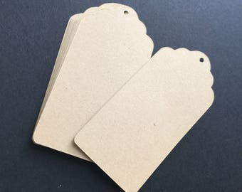 45 Kraft paper tags,cardstock paper tags,brown paper cards,country wedding favors,scallop tags brown,paper gift tags,wedding favor tags