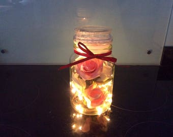 Decorative Jar with Lights and Pink Roses