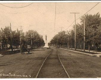 Real Photo Postcard,Two Rivers, Wisconsin, Street Scene, Streetcar, 1908