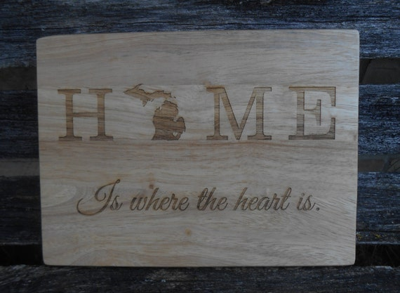 Home Cutting Board, CHOOSE YOUR STATE. Laser Engraved. Gift For Dad, Wedding, Christmas, Groom. Travel, Bride Groom, Rustic Decor