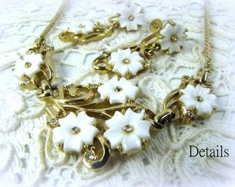 Vintage White Glass Flower necklace & earrings Trifari Style