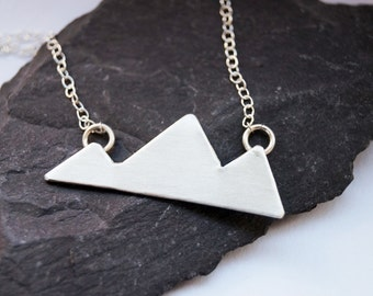Three Little Mountains Sterling Silver Necklace ~ modern, geometric, triangle, pendant