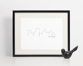 Minneapolis Skyline Art Print - 8x10 - Art Print - Instant Download
