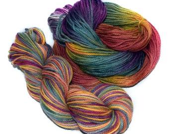 Hand painted yarn - Baby Alpaca - Merino - Aran - 100g / 3.5oz - rainbow - CRAZY MARY