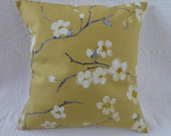 "16"" Cushion Cover Cherry Blossom Print Saffron Mustard Yellow Grey New Handmade 40cm"