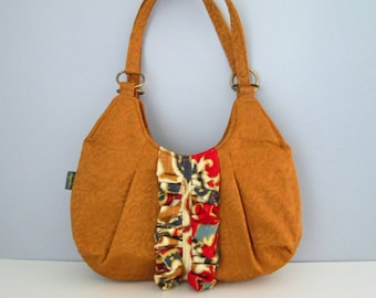 Small Shoulder Bag, Small Brown Handbag, Fabric Shoulder Bag, Purse with Ruffle, Pleated Purse, Small Brown Purse