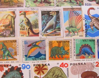 Dig Deeper 50 Dinosaurs Premium Vintage Postage Stamps TRex Natural History Prehistoric Archaeology Mammoth Paleontology Fossil Philately