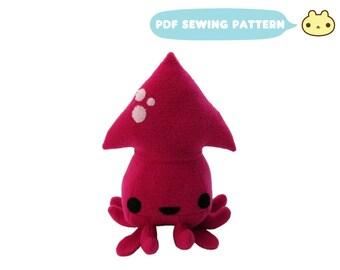 Plush Sewing Pattern, Squid Plush Toy, Aquatic Sewing Pattern, Sea Toy PDF, Squid Pattern, Toy Squid Sewing, Kawaii DIY Squid, Stuffed Squid