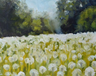 Original Small Oil Painting on Canvas. Landscape Painting. Daily Painting. Meadow painting. Dandelion oil painting. Fine Art