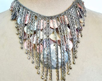 Ocean Rain: Shell Choker Necklace Silver Fringe Mother of Pearl Vintage Assemblage WEAR 2 WAYS Pink Peach Grey Mermaid Beach Wedding Boho