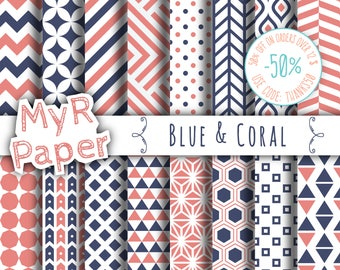 """Geometric Digital Paper Pack: """"Blue & Coral"""" geometric patterns for scrapbooking, invites, cards - printable - Backgrounds"""