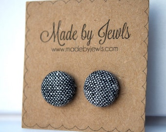 Grey and Black Tweedy Handmade Fabric Covered Hypoallergenic Button Post Stud Earrings 10mm
