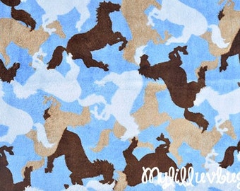Minky fabric by the yard- Horsin around sky blue and brown horse minky- minky cuddle one yard