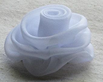 White rose hair clip, chiffon hair flower, medium