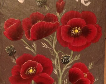 ORIENTAL POPPIES SIGN Slate Welcome Sign Slate wall plaque choose colors and size