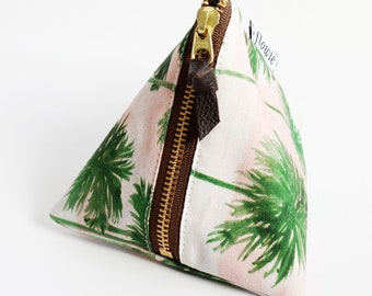 Triangle zipper pouch, Palm trees