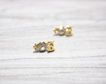 Tiny Owl Stud Earrings, 18 Karat Gold Plating over Brass Stud Post Earrings, Ready to Ship
