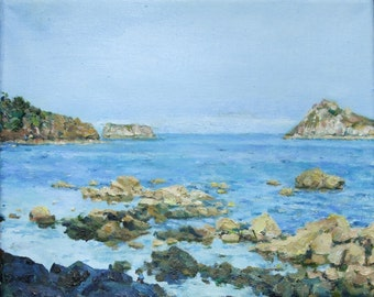 """PRINT REPRODUCTION of  the original painting """"View from Meadfoot Beach, Torquay"""" on paper"""