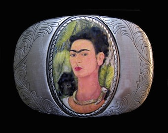 Frida Interchangeable Belt Buckle.  Wearable art.  Recycled rubber belts also available.  Designer, handmade - these work with snap belts.