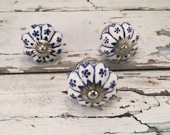 Antique White & Cobalt Blue Knobs, Decorative Pull Knob, Craft Supply, Furniture Ceramic Drawer Pulls, Cabinet Supplies, Item# 275743670