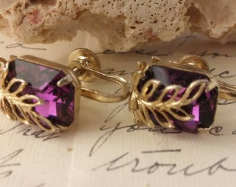 Vintage Purple Rhinestone Prong Set Stone w/ Leaf Design Overlay Screw Back Earrings Gift For Her Mother's Day Birthday Wedding Brides Maid