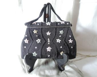 A Black Beaded Handbag
