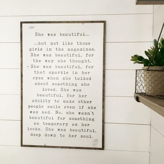 SHE WAS BEAUTIFUL 2X3 | girls sign | modern farmhouse bedroom  | distressed shabby chic plaque | wooden wall decor