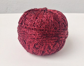 Red Metallic Yarn, Red Yarn, Metallic Yarn, Glitter Yarn, Red Metallic thread, Lurex Yarn, Sparkle Yarn, Red Yarn Bowl