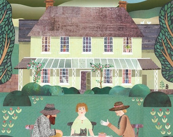 Bloomsbury Gruppe Druck, Naive Kunst, Virginia Woolf, Bauerngarten, Tea Party, Wandkunst, Gesprächsstoff, Collage, England, Landhaus