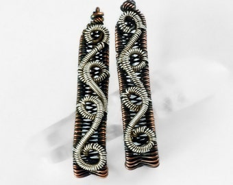 Swirling Mixed Metals Earrings - Wire Weaving and Coiling Jewelry Tutorial